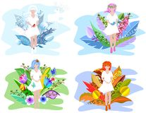 Floral girls. Four seasons abstraction concept for your design with surreal flowers royalty free illustration