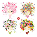 Floral girls. Seasons concept for your design Stock Images