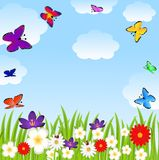 Floral glade and bright butterflies Stock Images