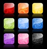 Floral glossy blank buttons in color variations Royalty Free Stock Images