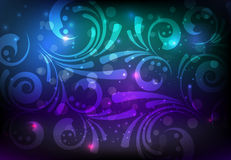 Floral glowing decoration on dark background Royalty Free Stock Photography