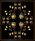 Floral gold and blackl card, ornament. Floral gold and black card, ornament background. Abstract Flower and leaves royalty free illustration