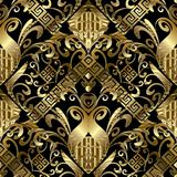 Floral gold 3d seamless pattern. Vector damask background with h. And drawn flowers, leaves, stripes, borders, greek key, meander ornaments. Ornate design  for Royalty Free Stock Images