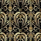 Floral gold 3d seamless pattern. Vector damask background with h. And drawn flowers, leaves, vertical stripes, borders, greek key, meander ornaments. Ornate Royalty Free Stock Photo