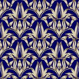 Floral gold Damask vector seamless pattern. Dark blue ornamental. Vintage background. Baroque antiique style 3d ornament with flowers, leaves, dots. Ornate Royalty Free Illustration