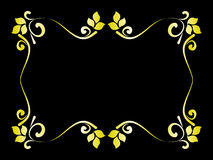 Floral gold frame on black background Stock Image
