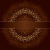 Floral gold frame with vintage patterns on brown. Background. Vector illustration Royalty Free Illustration