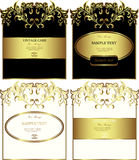 Floral gold-framed labels vector set Stock Photo