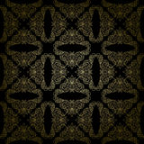 Floral gold vector pattern on black background - seamless Stock Photography