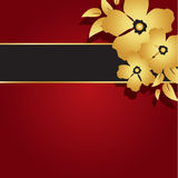 Floral Gold & Red Card. Decorative red card background design Royalty Free Stock Photo