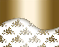 Floral golden design. Abstract floral white and gold decorative frame Stock Photo