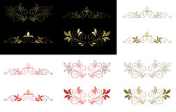 Floral golden vector design elements Royalty Free Stock Photo