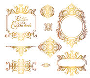 Floral golden eastern decor frame elements, paisley pattern Royalty Free Stock Image