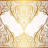 Floral golden eastern decor with place for your text, paisley pa Royalty Free Stock Images
