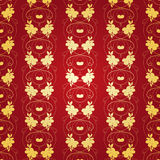 Floral Gold Background on Red Royalty Free Stock Photos