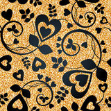 Floral golden wallpaper Royalty Free Stock Images