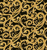Floral golden wallpaper. Seamless background from a floral golden ornament, Fashionable modern wallpaper or textile Stock Photo