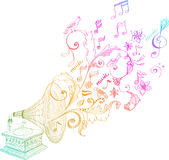floral gramophone τρύγος διακοσμήσεων ελεύθερη απεικόνιση δικαιώματος