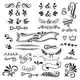 Floral and graphic design elements with ampersands.Vector set of text dividers for lettering. Doodles border,arrow and decorative hearts royalty free illustration