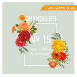 Floral Graphic Design for t-shirt Royalty Free Stock Photo