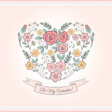 Floral graphic with heart Royalty Free Stock Images