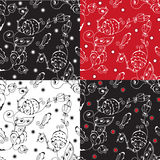 Floral graphic seamless pattern set Stock Image