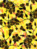 Floral graphic on a yellow backdrop Royalty Free Stock Photo