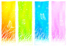 Floral grassy vertical banners vector illustration