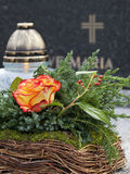 Floral grave decoration. Royalty Free Stock Photo