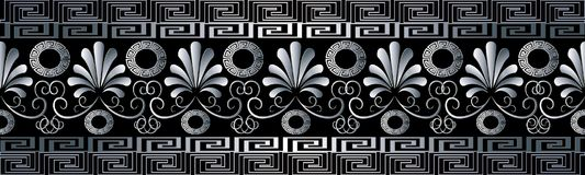 Floral grecian seamless border pattern. Black vector geometric b. Ackground. Modern 3d wallpaper. Hand drawn white 3d flowers, swirl leaves, shapes, figures Royalty Free Stock Images