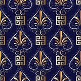 Floral greek key meander seamless pattern. Dark blue vector back. Ground wallpaper illustration with vintage gold 3d hand drawn flowers, love hearts, square Royalty Free Stock Image