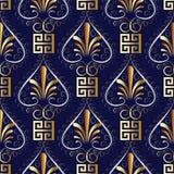Floral greek key meander seamless pattern. Dark blue vector back. Ground wallpaper illustration with vintage gold 3d hand drawn flowers, love hearts, square Stock Illustration