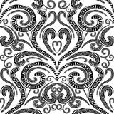Floral greek vector seamless pattern. Monochrome black and white stock illustration
