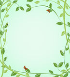Floral green background with butterflies on leaves Royalty Free Stock Image