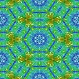 Floral green blue orange yellow mirroring pattern Stock Image