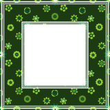 Floral green border. Abstract border with floral silhouettes on a green background Stock Images