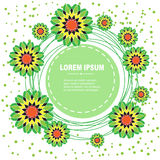 Floral green border. Green frame with flowers and dots on a white background Royalty Free Stock Photos