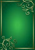 Floral green frame with gold decorations - vector Stock Images