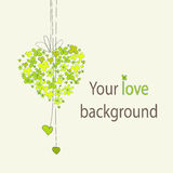 Floral green  heart background Stock Photography