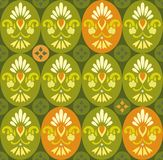 Floral green pattern in ovals and circles. Stock Photos