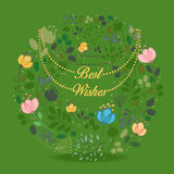 Floral green ring. Best wishes Royalty Free Stock Photos