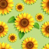 Floral green seamless pattern with 3d sunflowers Stock Illustration