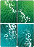 Floral green and teal layouts Stock Photography
