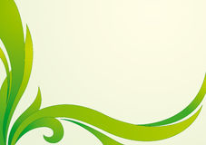 Floral green vector background. Horizontal vector background with floral curved decoration Stock Photo