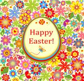Floral greeting bright card with easter egg Stock Photo
