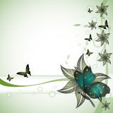 Floral greeting with butterflies Royalty Free Stock Image