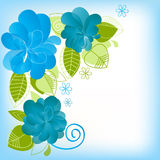 Floral greeting card. Decorative blue flowers and leaves over white Royalty Free Stock Photography