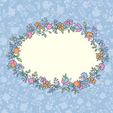 Floral greeting card. Romantic  greeting card with multicoloured flowers and pastel floral background. Vector illustration Stock Image