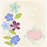 Floral greeting card. And dots background Royalty Free Stock Images