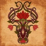 Floral greeting card in art nouveau style, vector. Illustration Stock Images